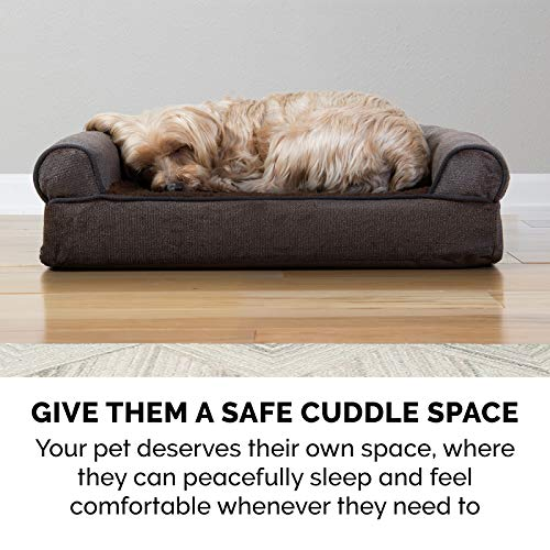 Furhaven Pet - Plush Orthopedic Sofa Dog Bed, L Shaped Chaise Corner Dog Bed, Ergonomic Contour Lounger, and Round Blanket Snuggery Burrow Bed for Dogs and Cats - Multiple Styles, Sizes, and Colors