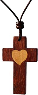Natural Redwood Cross Pendant Necklace for Men Women Boy Girl Teens Wood Wooden Love Heart Gift Casual Sweater Chain