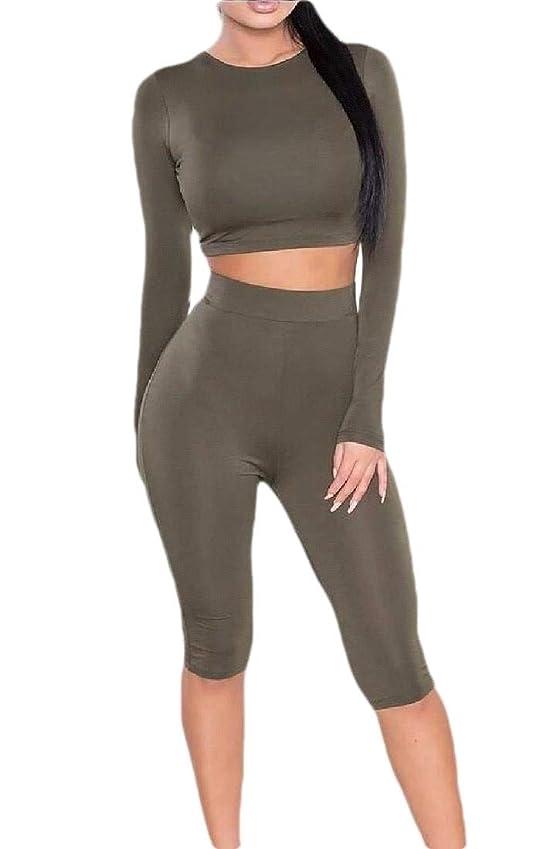優先権ヒゲクジラ微視的Womens 2 Piece Long Sleeve Crop Tops Bodycon Casual Tracksuit Set Outfit