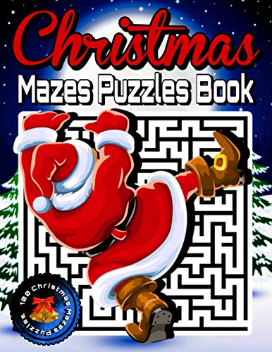 Christmas Mazes Puzzles Book: Christmas Mazes Book for Teens, Adults, Senior - Maze Puzzle Activity Game Books for Adults - Difficult Puzzles Games to Challenge Your Brain.