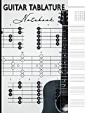 Guitar Tablature Notebook: 6 String Guitar Chord Manuscript Staff Paper For Music Notes, Blank Music Sheet Tabs Journal, Acoustic Player Bass Strings ... Songwriters, Black and White Vintage Design