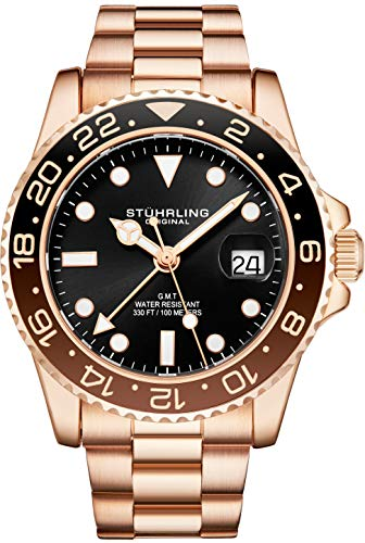 Stuhrling Original Herren Edelstahl Dreireihiges Armband GMT Uhr - Schweizer Quarz, Dual Time, Quickset Datum mit verschraubter Krone, wasserdicht bis 10 ATM (Rose Gold)