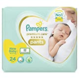 Pampers Premium Care Pants, New Born, Extra Small size baby diapers (NB,XS), 24 count, Softest ever Pampers