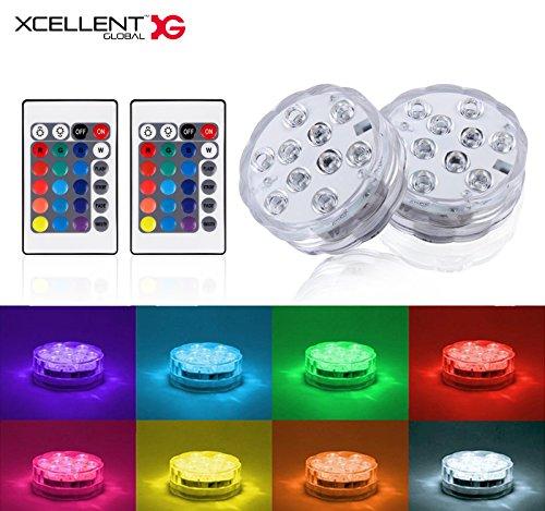 Xcellent Global 2 Spots lumières LED submersibles, 10 perles LED RGB multicolores à plonger dans la piscine, au fond d'un vase pour les fêtes, les mariages avec 2 télécommandes LD142