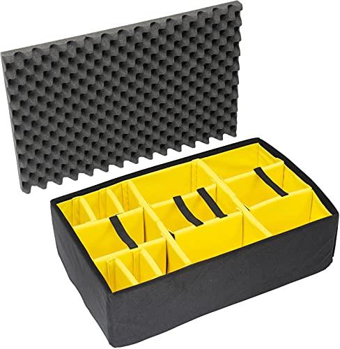 PELI 1655 set divisori imbottiti, accessorio per valigia PELI Protector originale, compatibile con: PELI 1650, colore: Nero/Giallo