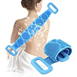 Bath Brush Body Washer Back Scrubber Belt, Double Sided Shower Scrub Belt Bath Towel Silicone Body Brush Belt, for Men Women, Body massage Easy to Clean