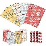 Sacs-cadeaux de Noël,Kit de sacs d'emballage cadeau en papier kraft avec 24 autocollants,4 couleurs 8,26 pouces sacs de bonbons cadeau de Noël pour les fêtes d'anniversaire du Nouvel