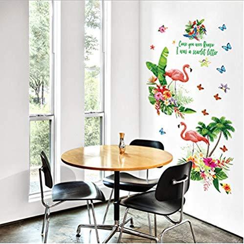 Fotobehang-groot flamingo-bloemen-verwijderbaar poster 60x90cmx2pcs