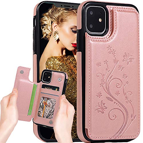 Iphone 11 Wallet Case for Women,iphone 11 Case with Card Holder,Auker Slim Protective Folio Vintage Butterfly Embossed Leather Flip Magnetic Folding Stand Snap on Pocket Case with Back Wallet (RoGold)
