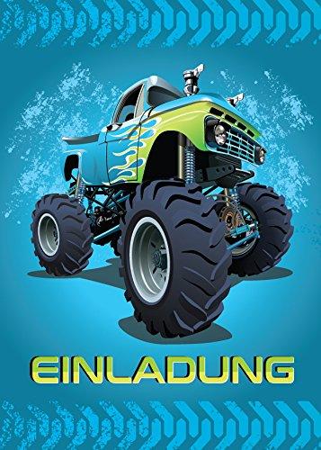 12 Einladungskarten Kindergeburtstag Jungen Monstertruck Jungs Geburtstagseinladungen Einladungen Kartenset Monster-Truck Geburtstag Karten Auto blau