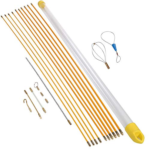 Kabelstangen OBLUESKY Fish Tape 32,8 Fuß 10 m Installationskit mit 9 Kabelhandhabungsaufsätzen 10 Stangen x 100 cm