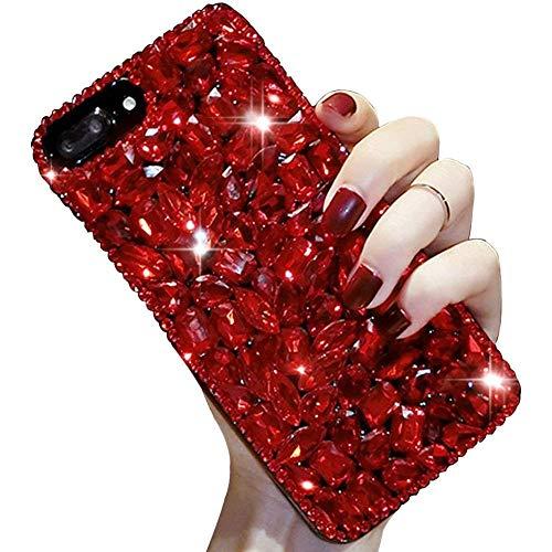 LCHDA iPhone 7 8 Diamant Hülle,Handyhülle Apple iPhone 7 8 Glitzer Rot Strass Bling Bling Case Glänzend Durchsichtig Kristall Steine Silikon Hardcase Schutzhülle