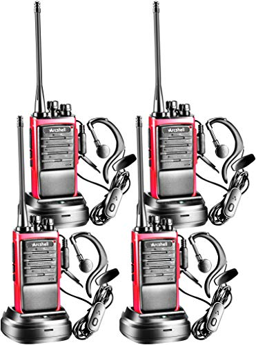 Arcshell Rechargeable Long Range Two-Way Radios with Earpiece 4 Pack Walkie Talkies UHF 400.025-469.975Mhz Li-ion Battery and Charger Included
