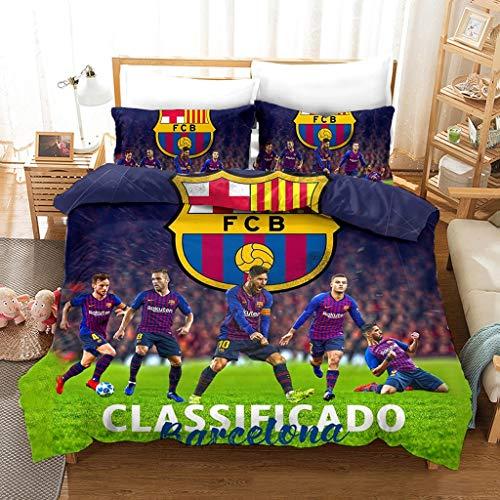 NIU 3 Piezas Funda nórdica Conjuntos de impresión Digital FC Barcelona Football Club Sistemas del lecho 100% de Microfibra Suave cómoda con Cierre de Cremallera (Funda nórdica + Funda de Almohada)