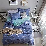 Lsdakoo Bettwäsche Bettbezug Set Hilft Beim Schlafen Polyesterfaser Warm 1 Bettbezug +1 Blatt + 2 Kissenbezüge Aktiv Drucken Und Färben Delfine Blau Bettbezug 220X240Cm