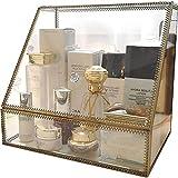 YSDS-JZ Organizador de la Vendimia de Maquillaje, Espejo Claro, Caja de latón, Amplia Caja de cosméticos para Maquillaje con vitrinas de Cristal Libre de Polvo, Maquillaje de Almacenamiento