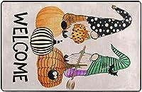 秋のハロウィーンのノームパンプキンスーパーソフト屋内モダンエリアラグふわふわラグダイニングルームホームベッドルームカーペットフロアマットベビーキッズ犬猫60x39インチ-80x58インチ