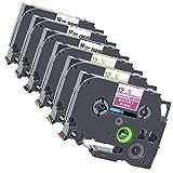 Xemax Compatibile Nastro 12mm Sostituzione per Brother P-Touch Tze-MQP35 Tze-MQG35 Tze-MQ835 Tze-131 Tze-231 Tze335 Cassette per PT-1000 PT-H110 PT-D210 PT-H105 PT-1010 PT-D600VP PT-P750W, 6 Pacco