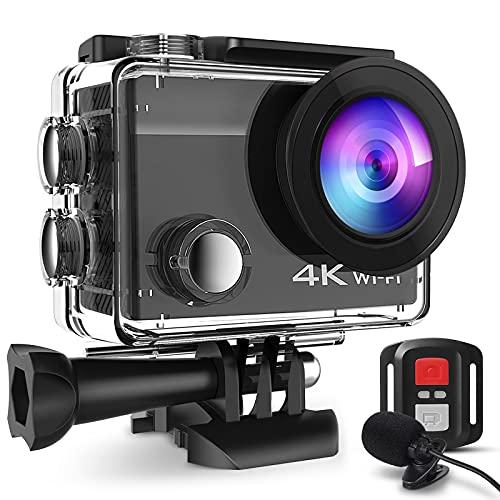 Action Cam 20MP WiFi HD 4K Con Microfono Esterno Fotocamera Subacquea 40M Con Telecomando 2.4G Videocamera Impermeabile Fotocamera Impermeabile EIS 170° Grandangolare 2 batterie 1050mAh Accessori