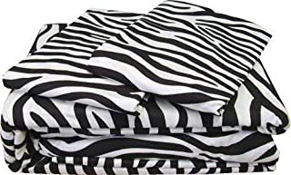 Bed 4 PCs Sheet Set -100% Egyptian Cotton - 400 Thread Count - 22 inch Deep Pocket of Fitted Sheet - Zebra Print, Queen Size.