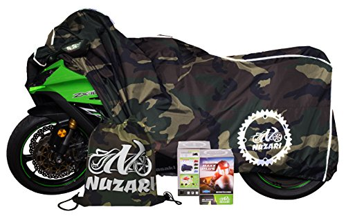 Premium Weather Resistant Covers Waterproof Polyester w/Soft Screen & Heat Resistant Shields.Motorcycle Cover has Lockable fabric, Durable & Long Lasting.Sportbikes & Cruisers (Large, Camouflage)