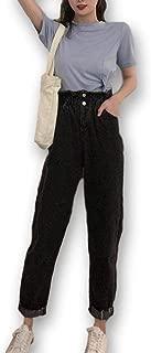 【カナエルン】 レディース ジーンズ ハイウエスト ロールアップ デニム ズボン ロングパンツ カーブ テーパード ウエストタック