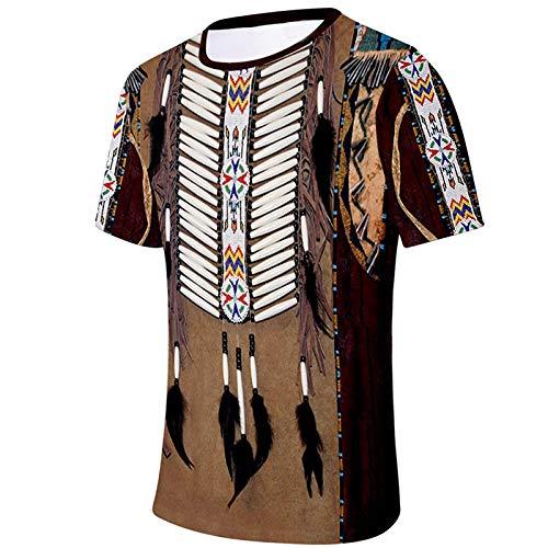 T-Shirt Männer Frühling Sommer Lässig Schlank Ethnischer Stil 3D Gedruckte Kurzarm Top Bluse (L,11Kaffee)
