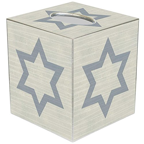 Marye-Kelley TB8066-Grey Star of David Hanukkah Tissue Box Cover