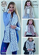 King Cole Ladies & Girls Shawls & Scarves Yummy Knitting Pattern 4540 Chunky