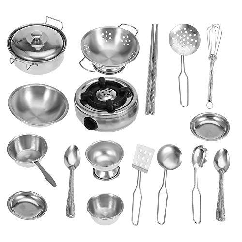 Kinder Küche Kochgeschirr Spielzeug Küche Spielzeug Edelstahl Kochgeschirr Kochgeschirr Pan Spielzeug Set für Kinder Jungen und Mädchen(18 Stück)