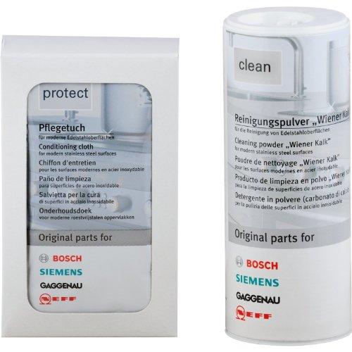 Bosch/Siemens 311140 Edelstahlpflegeset, 100 g Reinigungspulver, 5 Pflegetücher