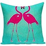 New-WWorld-Shop Baumwoll Kissenbezug Set Kissenbezug Flamingo Muster Kissenbezug für Valentinstag Geburtstag