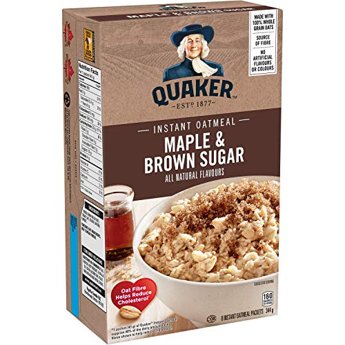 Quaker Instant Oats Maple and Brown Sugar Oatmeal 8ct 344g/121oz Imported from Canada}
