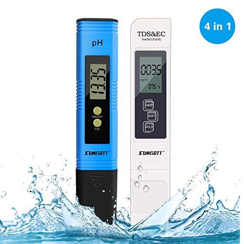 PH Meter, TDS Meter Digital EC&Temperature Test Meter 4 in 1 Set for Indoor, Pool and Aquarium Swimming