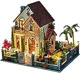 Accesorios para El Hogar DIY Conjunto De Casa En Miniatura Casa De Muñecas Amor Apartamento Villa Modelo De Construcción 3D Casa De Muñecas De Madera para Niños Regalo De Cumpleaños