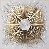 lifestyle4living Bild, Gemälde, handgemalt, Ölfarbe, Ölgemälde auf Tannenholz mit abstrakten Formen, Artful, grau und beige/Gold, Maße B/H ca. 100/100 cm