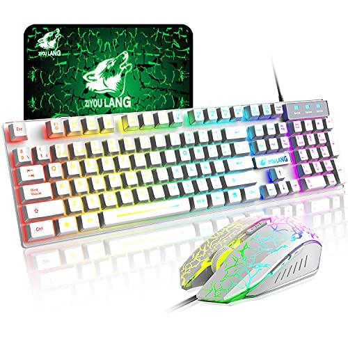 RGB Teclado y Ratón Gaming Español, Teclados QWERTY Retroiluminado con Arcoiris de 104 Teclas, Raton de 2400 dpi, Alfombrilla de Ratón, Cable USB, Compatible con Windows Mac PC PS4 Xbox, Blanco