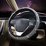 Bling Bling Steering Wheel Cover with Crystal Rhinestones Diamond, Universal Fit 15 Inch Anti-Slip,Steering Wheel Protector for Women Girls(FXPT)
