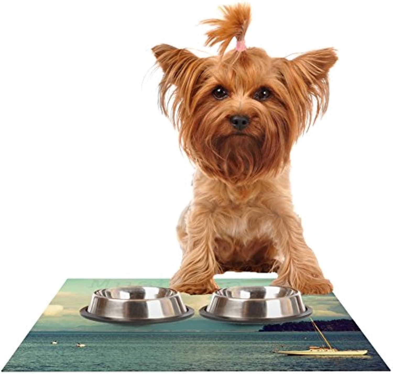 Kess InHouse Robin Dickinson Must Sea  Ocean Feeding Mat for Pet Bowls, 24 by 15Inch