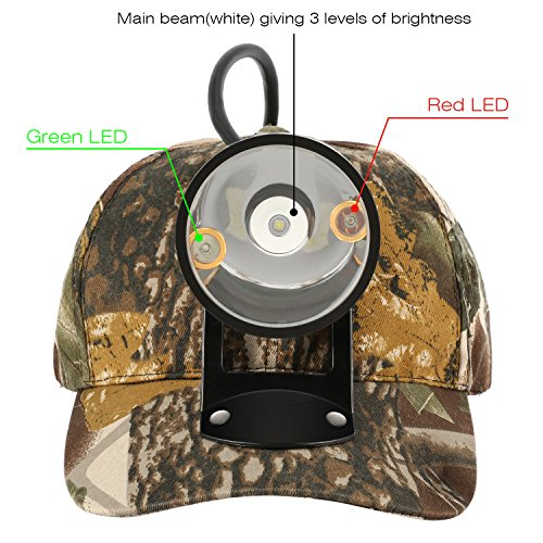 Kohree CREE 80000 LUX LED Coyote Hog Coon Hunting Light, Rechargeable Predator Hunting, 3 LED Cap Light, 5 Position Switch, Multiple Colors (White Red Green) + Soft Cap