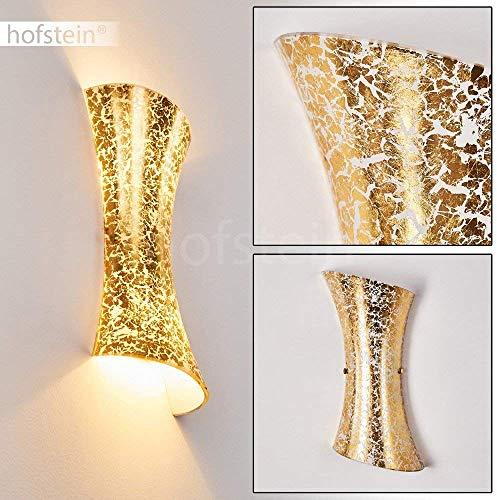 Wandlampe Rivoli aus Metall/Glas in Gold, moderne Wandleuchte mit Up & Down-Effekt, 2 x E14 max. 40 Watt, Innenwandleuchte mit Lichteffekt in Blattgold-Optik, geeignet für LED Leuchtmittel