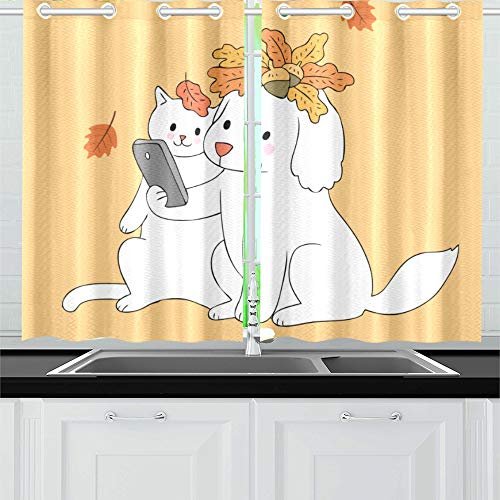 "Kitchen Curtains Cartoon Cute Autumn Dog Cat Selfie Window Drapes 2 Panel Set for Kitchen Cafe Decor, 52"" X 39"", Best Window Curtains"