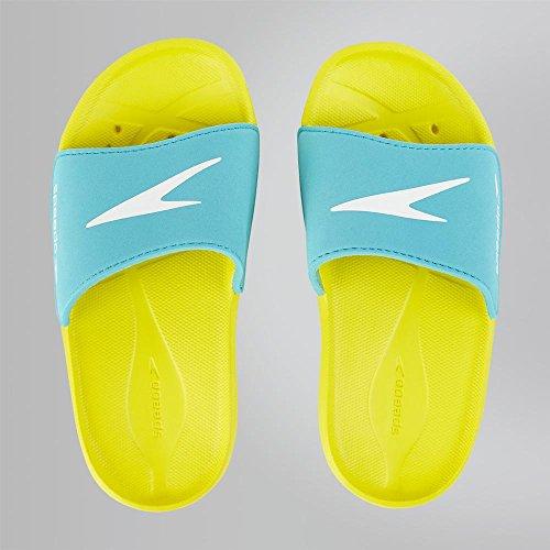 Speedo Atami Core Slide, Unisex-Kinder Dusch- & Badeschuhe, Mehrfarbig (Empire Yellow/Bali Blue 000), 34.5 EU