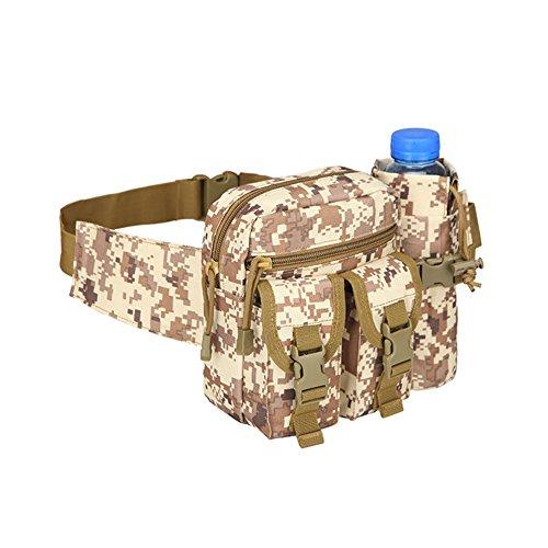 Taktische Hüfttaschen Molle Tasche Gürteltasche, Hüfttasche Tactical Bachtasche Armee mit Flaschenhalter für Outdoor Sport Trekking Wandern Angeln(Typ 6)