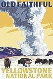 Yellowstone National Park, Wyoming, Old Faithful Geyser, WPA Style (9x12 Wall Art Poster, Digital Print Decoration)