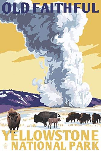 Yellowstone National Park, Wyoming - Old Faithful Geyser - WPA Style (9x12 Art Print, Wall Decor Travel Poster)