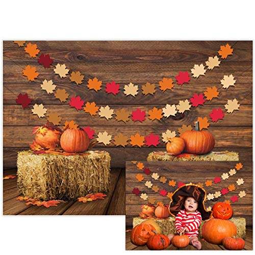 Allenjoy 7x5ft Fall Thanksgiving Photography Background Rustic Wood Wall Autumn Pumpkins Harvest Backdrop Barn Maple Leaves Baby Shower Kids Birthday Party Decoration Banner Photo Studio Props