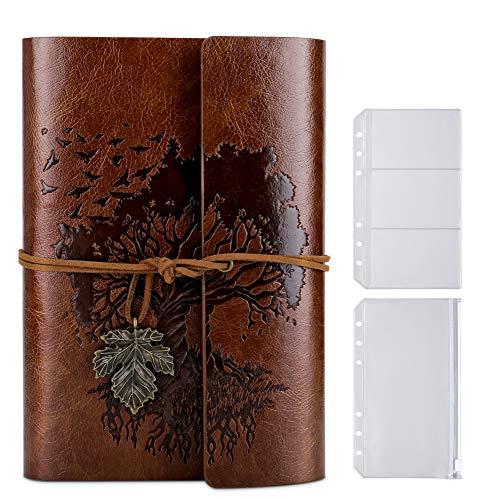 PU-Leder-Tagebuch, Blanko-Seiten, nachfüllbar, Vintage-Skizzenbuch, Reise-Notizbuch, Tagebuch, Geschenk für Mädchen, Jungen, Frauen, Männer, 18,5 x 13 cm, Braun