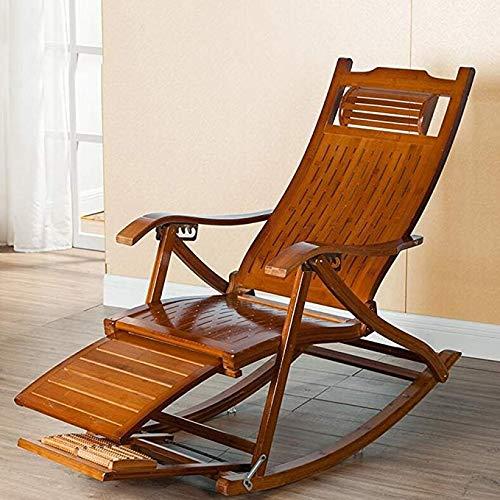 JCM Vrijetijdsstoel hout Lazy schommelstoel schommelstoel ligstoel lounge zitting verstelbaar voetensteun ZJ