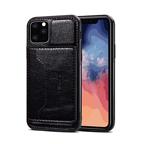 Review Leather Flip Case Fit for iPhone 11 Pro, Premium Card Holders Kickstand Wallet Cover for iPho...